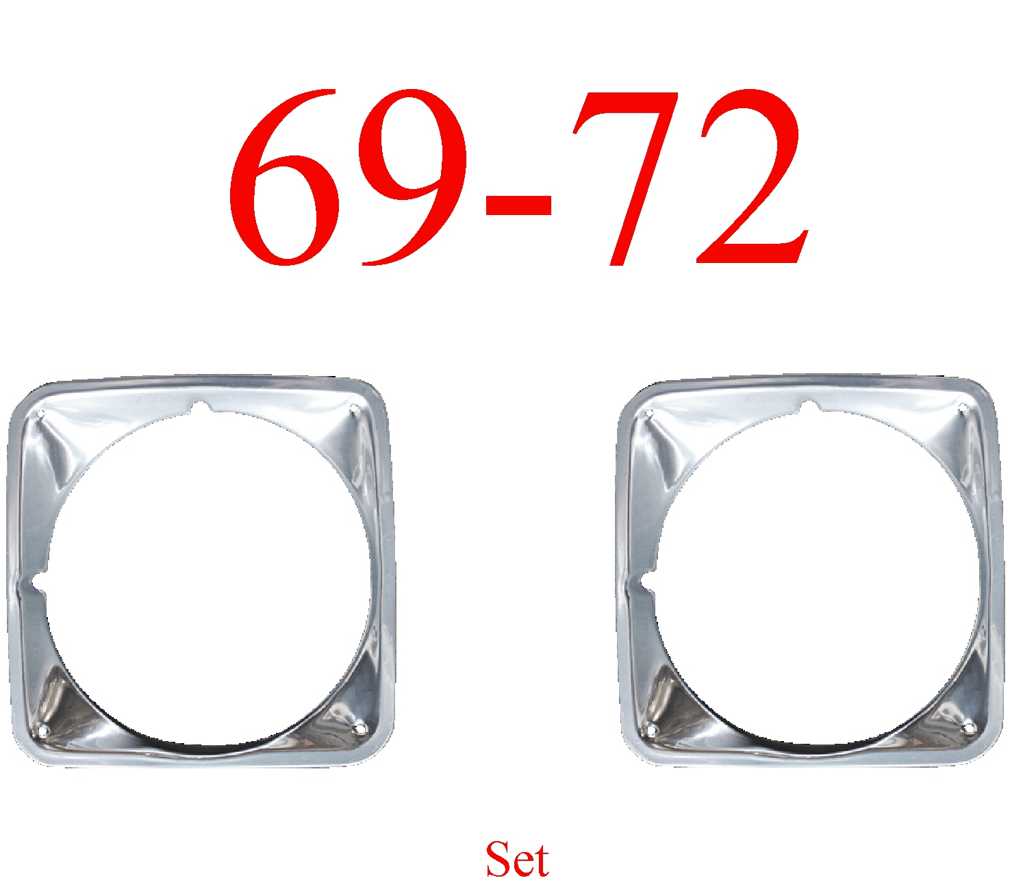 69-72 Chevy Truck Head Light Door Set, Chrome